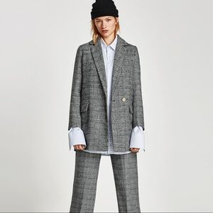 Zara Double Breasted Plaid Checked Blazer (Size S)